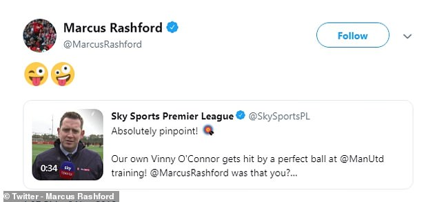 Rashford appeared to admit his guilt with a simple message on his Twitter account