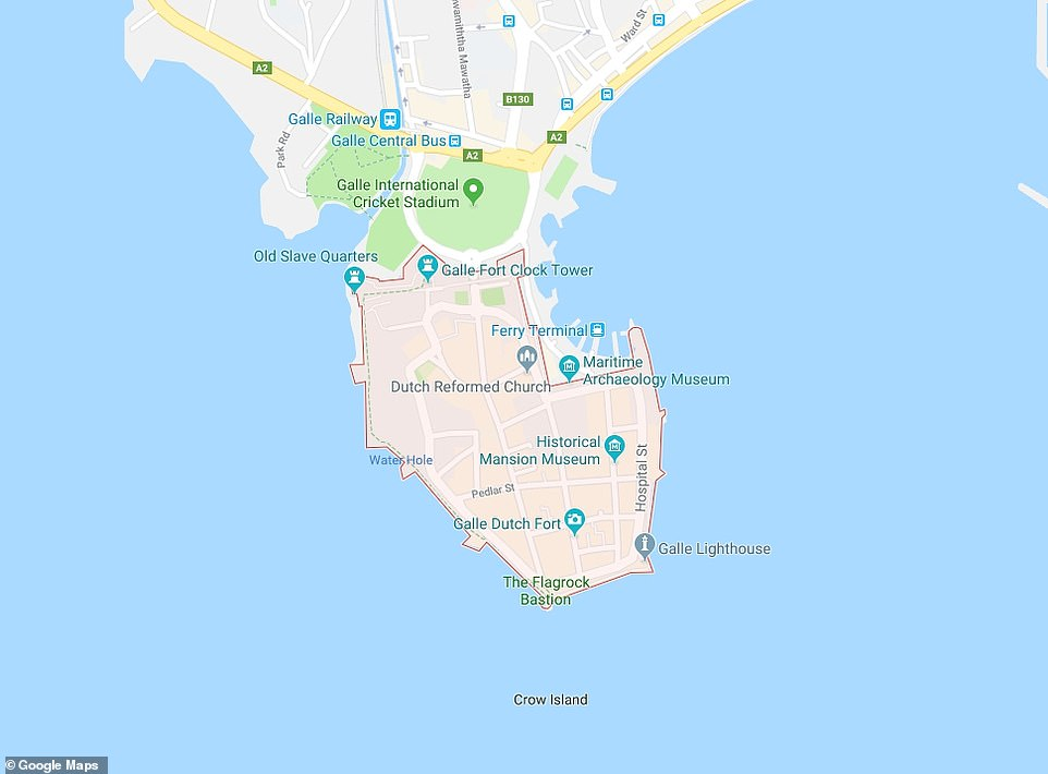 A map showing the proximity of the fort (shaded area) to the Galle International Cricket Stadium in the Sri Lankan city
