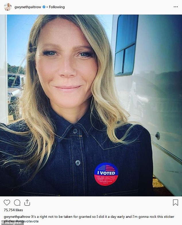 She did it: Gwyneth Paltrow voted one day early for the midterm elections