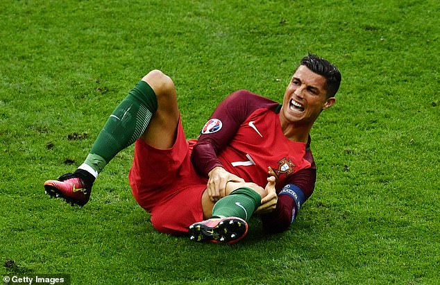 Cristiano Ronaldo (pictured playing for Portugal in 2016) is infamous for his dramatic reactions when attacked or injured