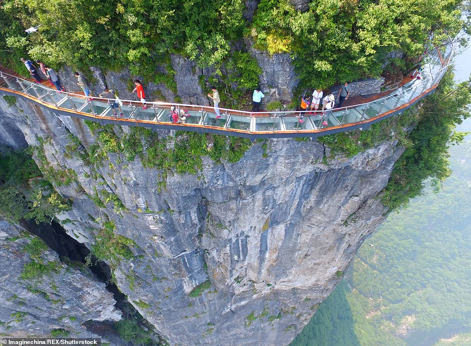 The Chinese just do not seem to get enough of nerve-racking sidewalks. Here is one made of glass on the Tianmen mountain
