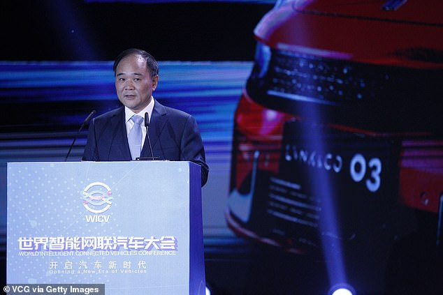 Geely chairman Li Shufu (pictured) said the firm must 'innovate on our own' and build its own Hyperloop technology. Several startups around the world are vying to make the tech a reality