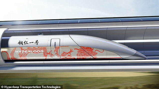 Shown here is a model of the high-speed rail system of Hyperloop Transportation Technologies, which is to arrive in a southern Chinese city. The design of Geely and CASIC will follow afterwards, magnetic levitation will be used to eliminate bottom friction and vacuum hoses to reduce air resistance