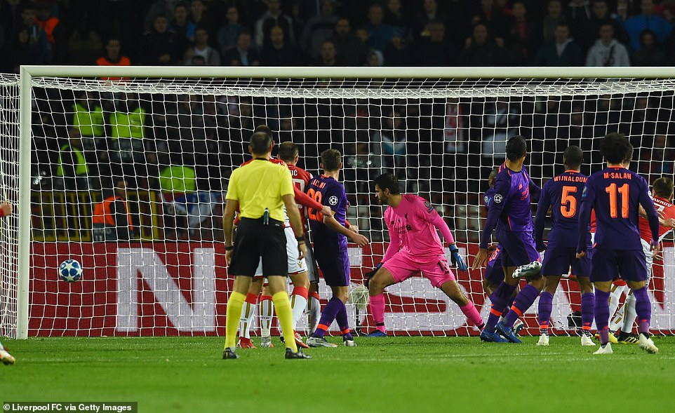 Alisson stood firm and watched as the ball snuggled into the corner and his side fell back in the game