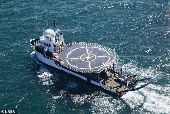 In the unlikely event of an astronaut emergency, SpaceX has equipped its rescue ship, GO Searcher, with a medical treatment facility and a heliport in the middle of the ship.