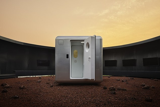 """It is a compact, self-contained living space with a length of only 7.8 feet, a width of 7.8 feet and a height of 6.5 feet. A square base connected to the """"living bubble"""" serves as a door to enter and exit the structure"""
