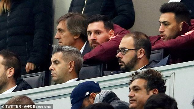 Lionel Messi watched from the stands as Barcelona was held in the San Siro of Inter Milan