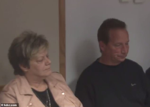 Shanann's parentsFrank and Sandra Rzucek are pictured at the press conference after his hearing on Tuesday. They did not speak