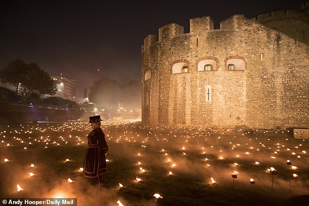 With the world preparing to mark the centenary of the Armistice and the end of the 'war to end all wars', this was the extraordinary scene at the Tower of London earlier this week (pictured)
