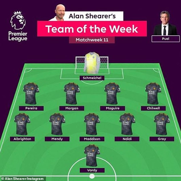 Alan Shearer posted his special team of the week with a long message on Instagram