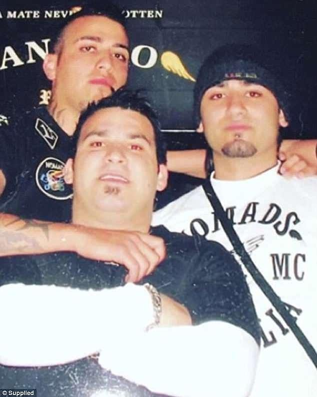 A rare photo of Tajjour's early days as a Nomads member shows him standing alongside older brother Sleiman (left) and cousin Michael Ibrahim, younger brother of Kings Cross nightclub owner John