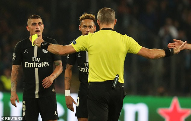 Neymar stares at the official after being booked in the Champions League draw on Tuesday