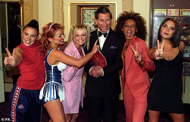Charles is photographed here with the Spice Girls in 1997, at aRoyal Gala celebrating the Princes Trust 21st Anniversary in Manchester. The Prince of Wales was 48 at the time