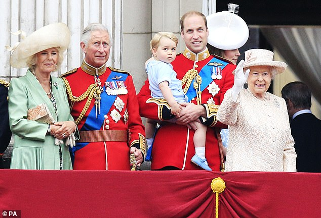 The Prince of Wales, pictured at the age of 66 in 2015, on the Buckingham Palace with Camilla, Prince William, Prince George, and the Queen for Trooping the Colour