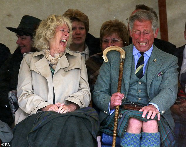 Charles. aged 59, and Camilla were seen roaring with laughter at the Mey Highland games in Caithness in 2008