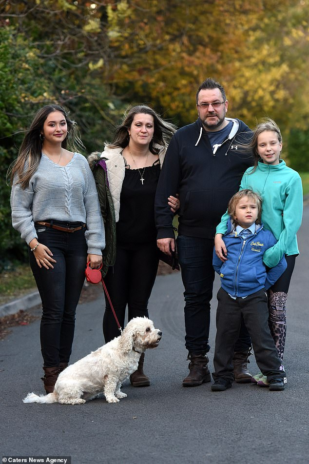 Although he was diagnosed in September, Mr. Wilkinson told his children last week that he is ill. From left to right, his stepdaughter Ella (16), wife Bozena (43), daughter Lily (11) and son Eli (5) can be seen. His tumor is too close to his critical nerves to be completely removed