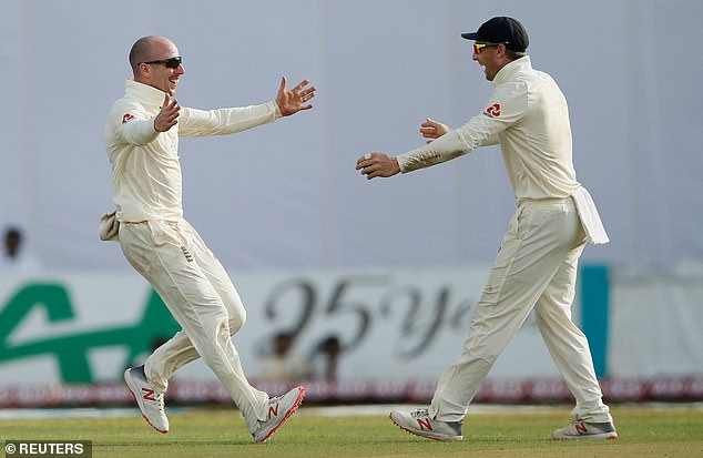 Jack Leach (left) celebrates with Jos Buttler (right) - they first played together in the U11