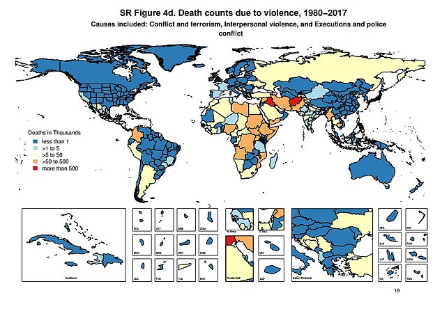 Death counts because of violence, such as terrorism and interpersonal violence, between 1980-2017. Dark blue is less than 1,000, light blue is less than 5,000, yellow is less than 50,000, orange is less than 500,000 and red at over 500,000
