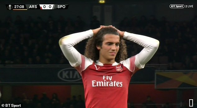 Mateo Guendouzi looks on with concern as Welbeck is treated for his ankle injury