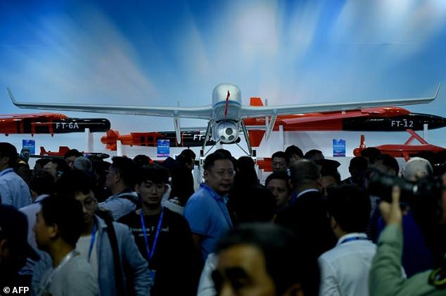 China's drones are now flying in the Middle East, China Beijing is more than the United States. Combat drones were shown under the jet fighters, missiles and other military hardware this week at Airshow China (pictured)