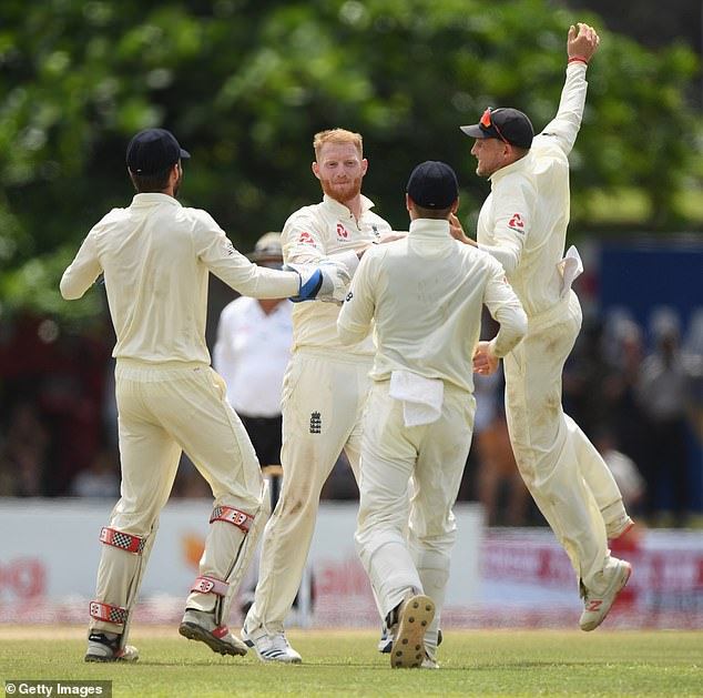 The Englishman Ben Stokes celebrates after taking the wicket of Dhananhaya de Silva before lunch