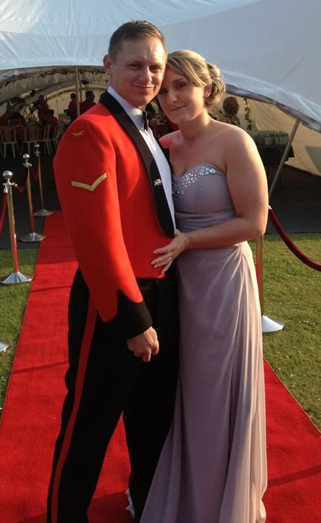 Before his hearing aids adapted, Mr. Young, who is currently engaged in a three-year degree in paramedical sciences, has struggled with communication and feelings of anxiety. In the picture, with his wife, Marie Young, at a British army dance in 2012
