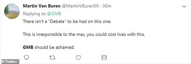"Martin Van Buren challenged the presence of GMB at the discussion and giving the transmission time to the anti-vaccine views, which he said ""could cost the life"""