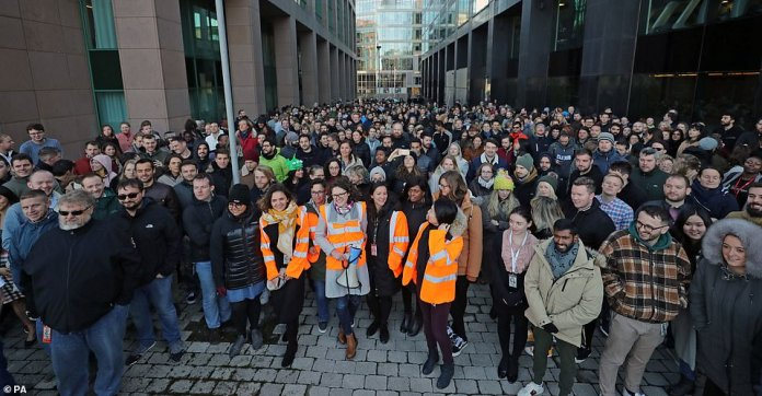 Google employees at its European headquarters in Dublin, Ireland, join others from around the world walking out of their offices in protest over claims of sexual harassment, gender inequality and systemic racism at the company
