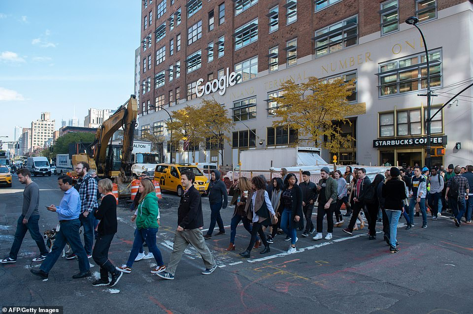 Google employees stage a walkout on Thursday in New York, over sexual harassment within the organization