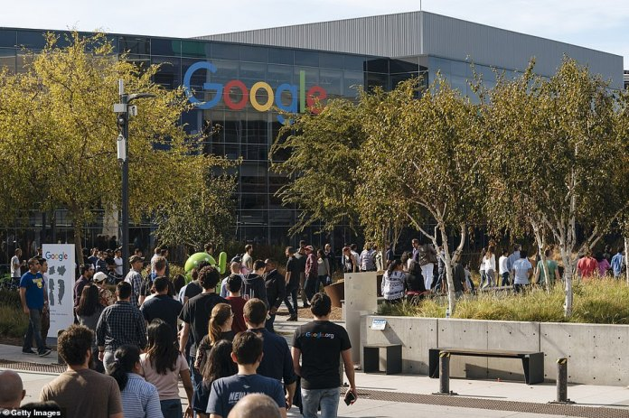 Google employees will be shown outside the San Francisco office on Thursday during the global strike