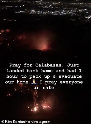 Kim posted an Instagram story from her private plane as she touched down in California of wildfires raging through the county