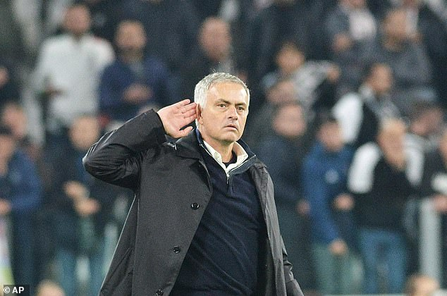 Mourinho cupped his ears after United's 2-1 victory over Juve on Wednesday