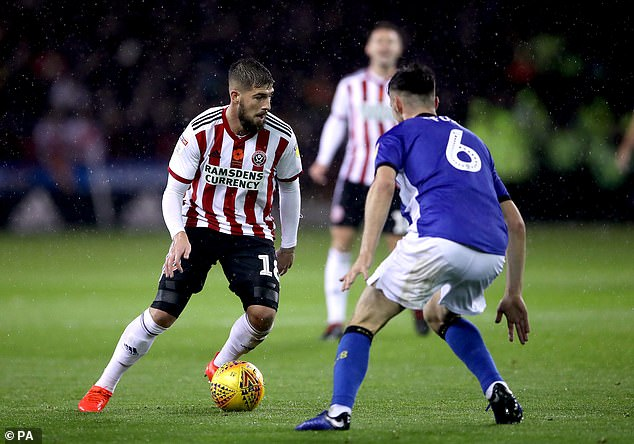 Sheffield United's Kieron Freeman during the first 45 minutes of the game at Bramall Lane