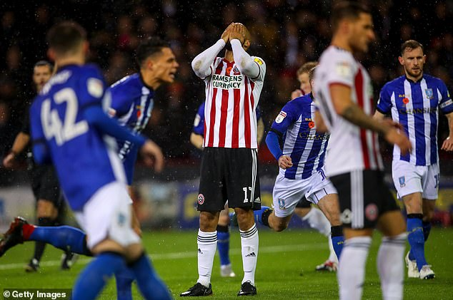 McGoldrick from Sheffield United reacts after missing a penalty and the opportunity to put his team ahead