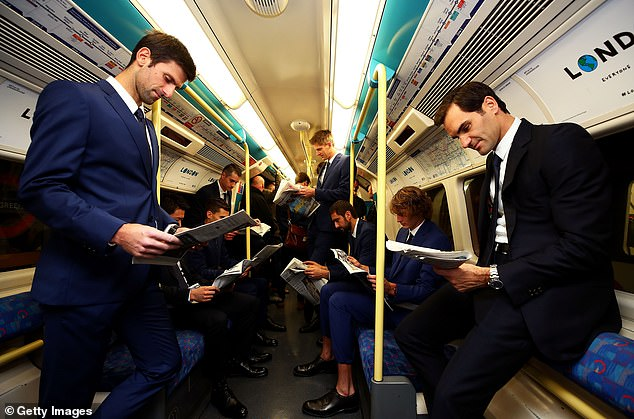 Roger Federer (right) and Novak Djokovic (left) traveled on Friday with the London Jubilee Line