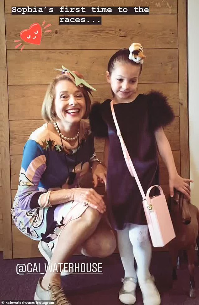 Family affair!She attended the day with her mother, horse trainer Gai Waterhouse, and her daughter, Sophia, four, who celebrated her first ever day at the races (pictured)
