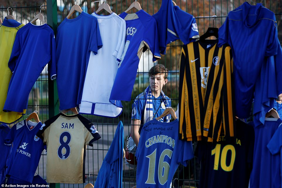 Followers have set up Leicester shirts from various eras in honor of Vichai at the Tribute site