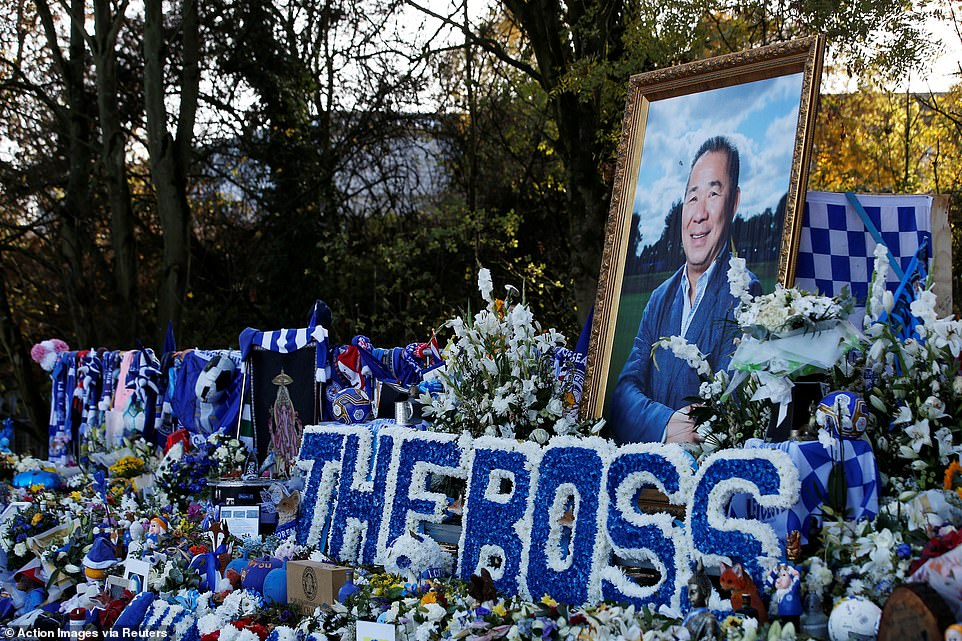 """A large photo of Vichai was placed in the middle, along with his well-known title """"The Boss"""", which the players called him"""