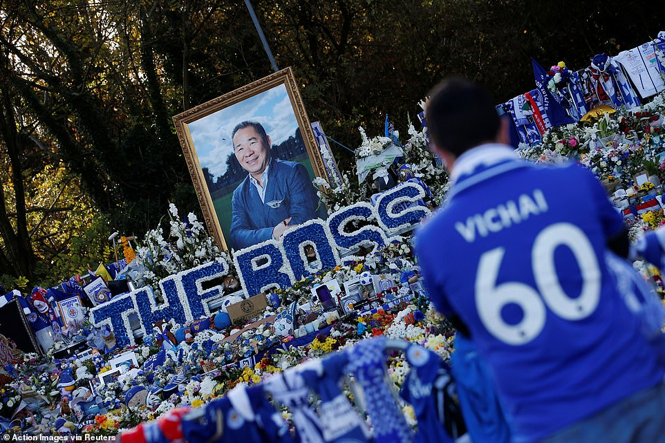 In tribute to the late Vichai Srivaddhanaprabha, masses of tributes were erected outside the King Power Stadium