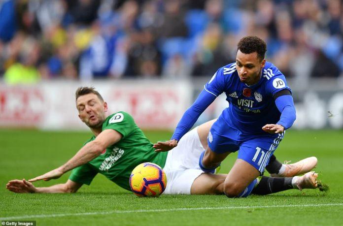 Brighton midfielder Stephens tests his challenge and drops Cardiff striker Josh Murphy in the first half