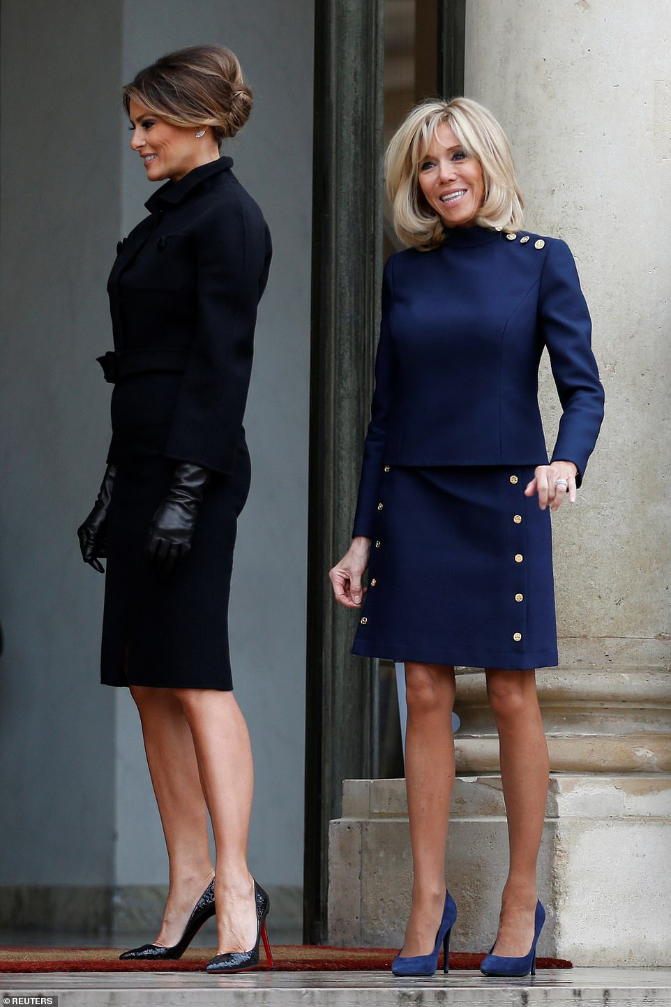 The pair looked pleased as they met prior to their lunch with U.S President Donald Trump and French President Emmanuel Macron at the Elysee Presidential Palace on November 10, 2018 in Paris, France