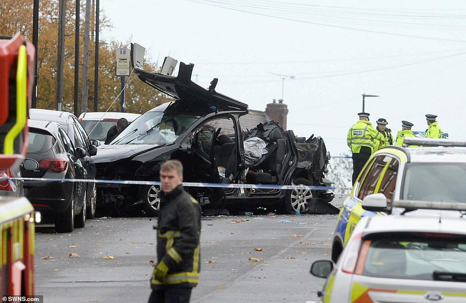 The VW Touran, pictured, was carrying seven people including the driver when it was hit by the VW Golf