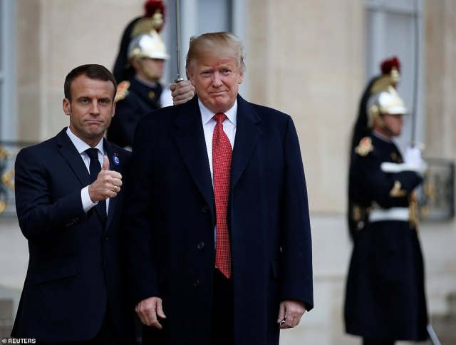 ALL BETTER: President Trump was in better spirits on Saturday as he met with Emmanuel Macron at Elysee Palace in Paris