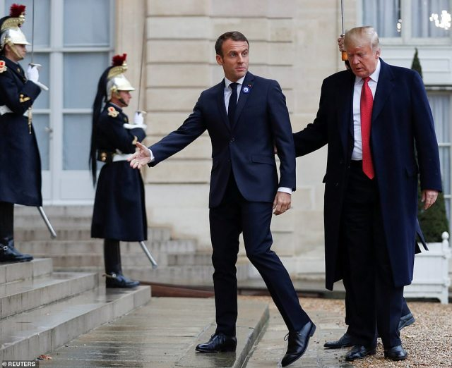 Macron welcomes President Trump to the Elysee Palace this morning .