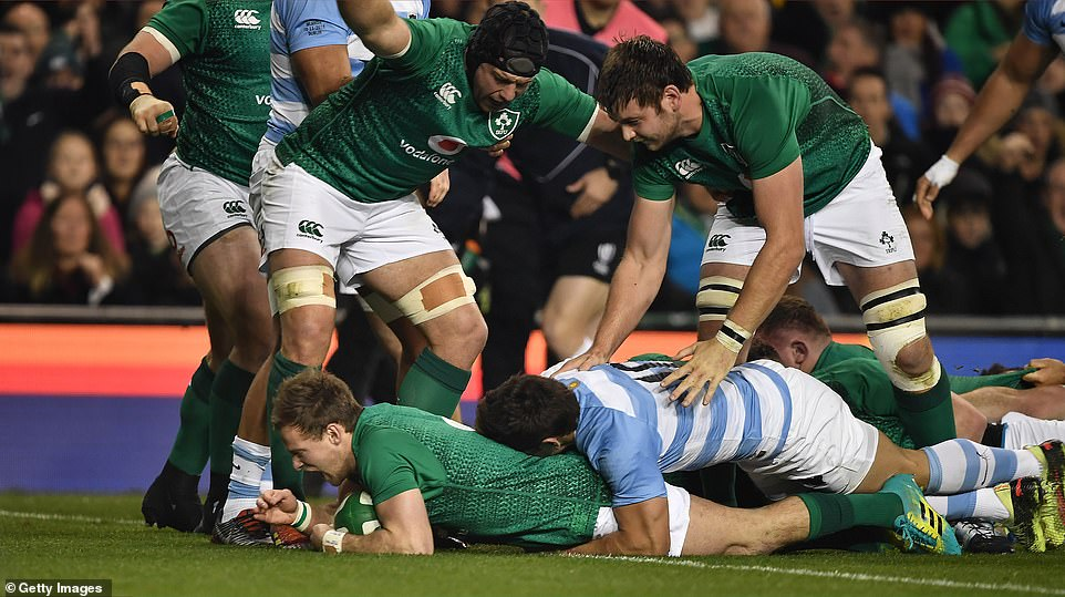 Ireland's Kieran Marmion made a try during the fall international clash against Argentina