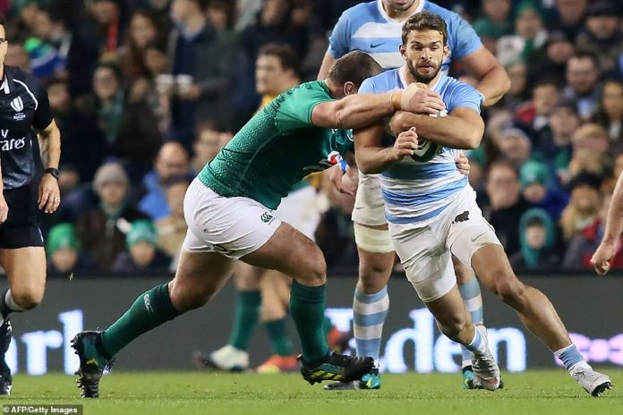 The Argentine wing Ramiro Moyano is under pressure from Ireland