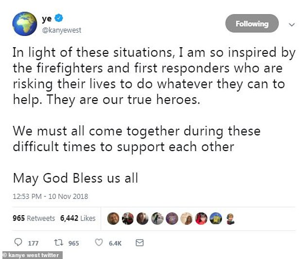 More: The rapper added, 'In light of these situations, I am so inspired by the firefighters and first responders who are risking their lives to do whatever they can to help. They are our true heroes'
