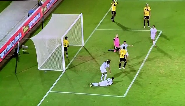 Habibou was congratulated by his team-mates after scoring one of the most bizarre goals
