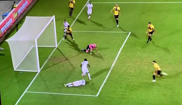 As the ball came clear in the six-yard area, Habibou got up from the ground to slot home