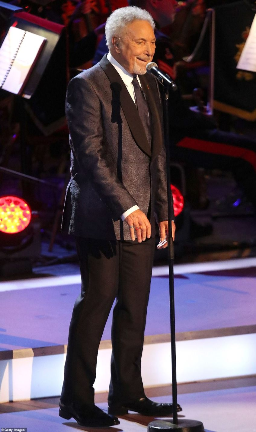 Tom Jones sings at the festival. The evening performance of the Festival of Remembrance will also be broadcast on BBC One from 8.30pm tonight